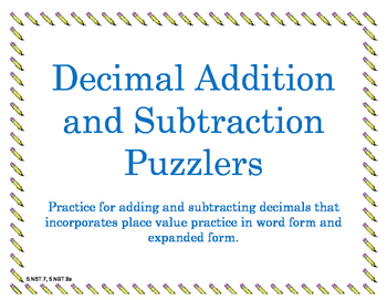 Decimal Addition and Subtraction Puzzlers