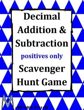 Decimal Addition and Subtraction Scavenger Hunt Game #1