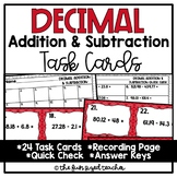 Decimal Addition and Subtraction Task Cards