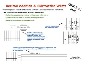 Decimal Addition and Subtraction Worksheets