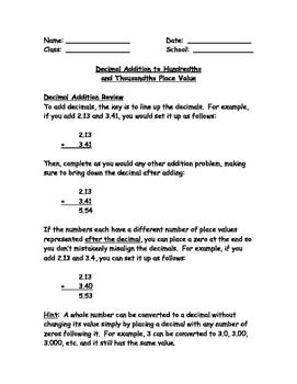 Decimal Addition to Hundredths and Thousandths