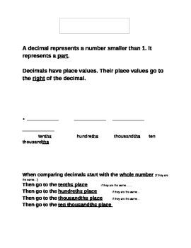 Decimal Anchor Chart