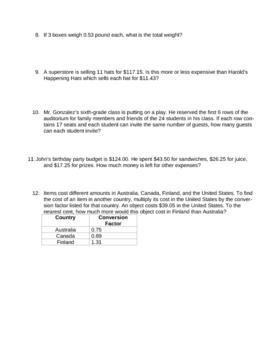Decimal Applications Quiz