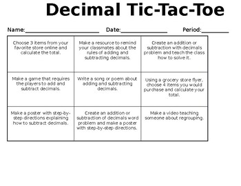Decimal Assessment Choice Board