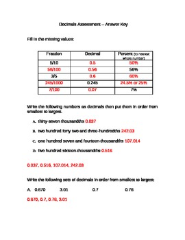 Decimal Assessment - Word Document