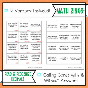 Reading and Recognizing Decimals BINGO Math Game
