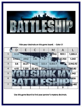 Decimal Battleship Math Center