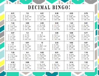 Decimal Bingo!