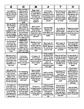 Decimal Bingo (Mixed Word Problems with All Operations)