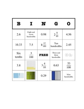 Decimal Bingo (picture, word form, standard form, and mixed fraction)