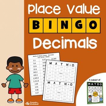 Decimal Place Value Bingo, with Decimal Bingo Forms and Call Sheet