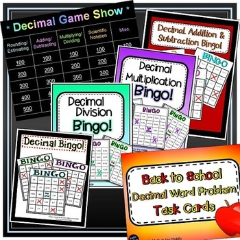 Decimal Bundle - includes games, task cards, and practice sheets!