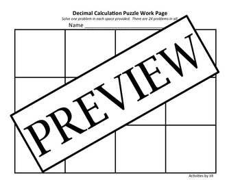 Decimal Calculation Puzzle
