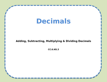 Decimal Calculation Review
