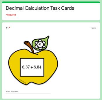 Decimal Calculation Task Cards