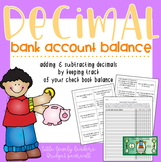 Decimal Check Register Bank Account Activity (Decimal Addition and Subtraction)
