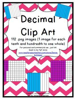 Decimal Clip Art (112 png images for tenths and hundredths)