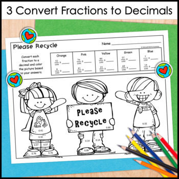 Decimal Color by Number - Earth Day Themed