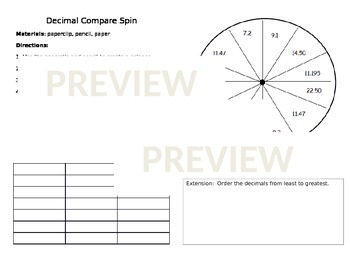 Decimal Compare Spin
