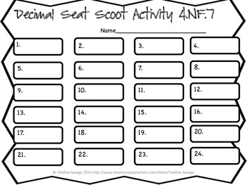 Decimal Comparison Seat Scoot Class Activity 4.NF.7