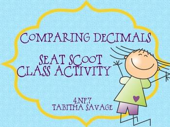 Decimal Comparison Seat Scoot Class Activity 4.NF.7