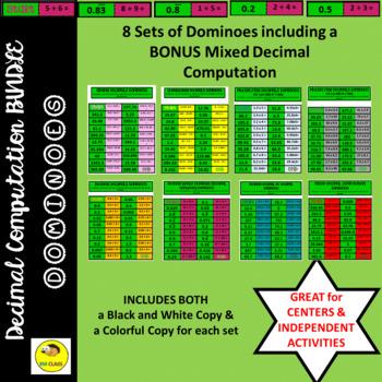 Decimal Computation Dominoes Games Bundle