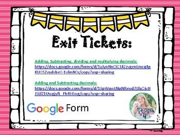 Decimal Computation Exit Tickets