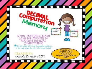Decimal Computation Memory Match