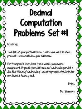 Decimal Computation Problems Set 1