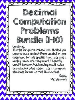 Decimal Computation Problems Set 1-10 Bundle