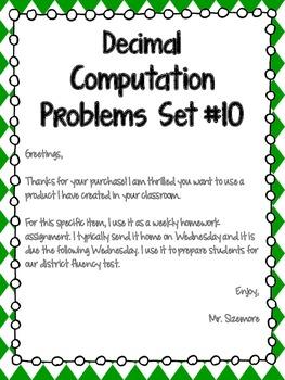 Decimal Computation Problems Set 10