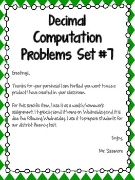 Decimal Computation Problems Set 7