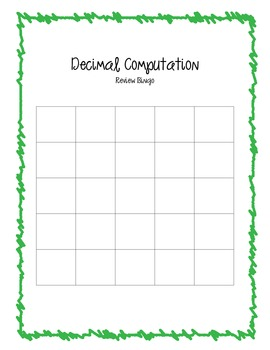 Decimal Computation Review Bingo