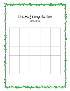 Decimal Computation Review Bingo