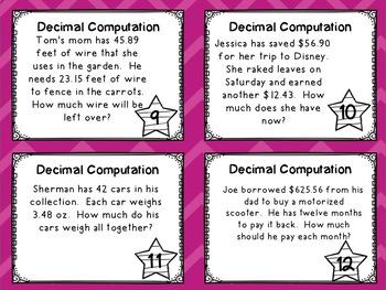 Decimal Computation Task Cards