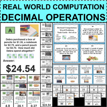 Decimal Computation Travel Game Activity Stations with Task Cards