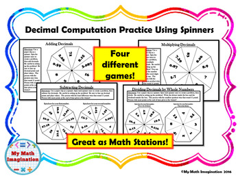Decimal Computation Using Spinners - Add, Subtract, Multiply, & Divide Decimals
