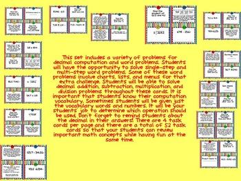 Decimal Computation and Word Problem Task Cards