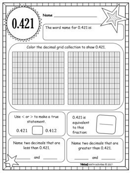 Decimal Concept Pages - Thousandths Edition