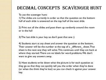 Decimal Concepts Scavenger Hunt