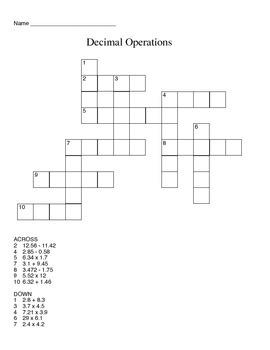Decimal Cross-Word Puzzle