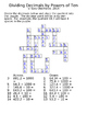 Decimal Crossword Puzzles - Multiplying and Dividing