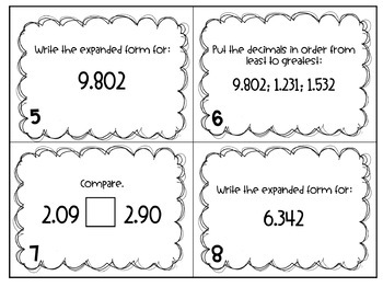 Decimal Task Cards {4.NF.6 and 4.NF.7 common core}