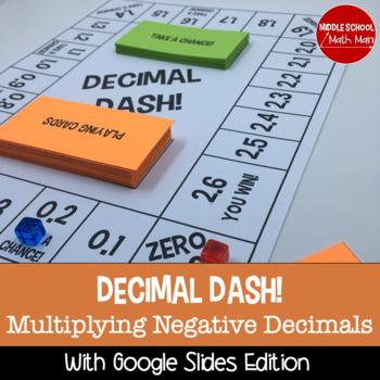Decimal Dash! Multiplying Decimals Board Game (Negative Number Edition)