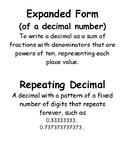 Decimal (Decimal Ops) Vocabulary Cards