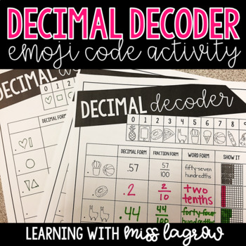 Decimal Decoder Emoji Code Activity Worksheet Pack