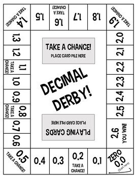 decimal derby an adding and subtracting decimals board game tpt. Black Bedroom Furniture Sets. Home Design Ideas