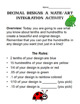 Decimal Designs: A Math/Art Integration Activity 4.NF.5, 4.NF.6