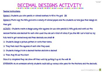 Decimal Designs Coloring Activity - 4th Grade Fractions (4.NF.6)