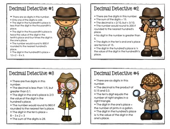 Decimal Detectives! Enrichment Materials for Critical Thinking